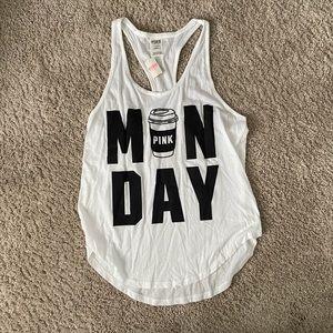 MONDAY PINK Victoria Secret Racer Back Tank Top
